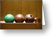 Revival Greeting Cards - Three Bowling Balls Greeting Card by Benne Ochs