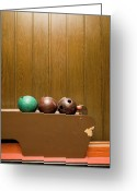 Revival Greeting Cards - Three Bowling Balls In Bowling Alley Greeting Card by Benne Ochs