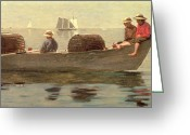 Crabs Greeting Cards - Three Boys in a Dory Greeting Card by Winslow Homer