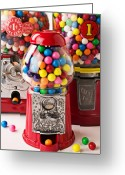 Old Fashion Greeting Cards - Three bubble gum machines Greeting Card by Garry Gay