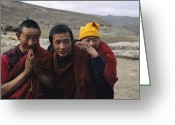 Clergy Greeting Cards - Three Buddhist Lamas In Gansu Province Greeting Card by David Edwards