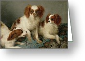Spaniels Greeting Cards - Three Cavalier King Charles Spaniels on a Rug Greeting Card by English School
