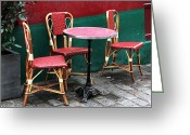 Cobblestone Street Greeting Cards - Three Chairs in Paris Greeting Card by John Rizzuto