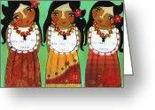Island Cultural Art Greeting Cards - Three Chamoritas Greeting Card by Jennifer R S Andrade