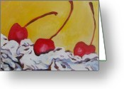 Tilly Strauss Greeting Cards - Three Cherries Greeting Card by Tilly Strauss
