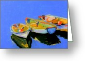 Reflections Pastels Greeting Cards - Three Colourful Boats Greeting Card by Sue Gardner