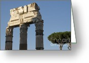 Archaeology Greeting Cards - Three columns and architrave Temple of Castor and Pollux Forum Romanum Rome Greeting Card by Bernard Jaubert