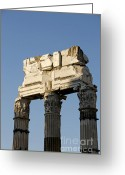 Archaeology Greeting Cards - Three columns and architrave Temple of Castor and Pollux Forum Romanum Rome Italy. Greeting Card by Bernard Jaubert