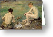 Young Man Greeting Cards - Three Companions Greeting Card by Henry Scott Tuke