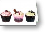 Whipped Topping Greeting Cards - Three cupcakes Greeting Card by Jane Rix