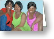 Pen Pastels Greeting Cards - Three Divas Greeting Card by Vannetta Ferguson