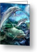 Sea Life Mixed Media Greeting Cards - Three Dolphins Greeting Card by Carol Cavalaris