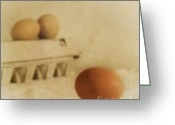 White Greeting Cards - Three Eggs And A Egg Box Greeting Card by Priska Wettstein