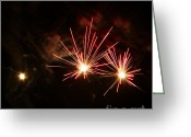 Pyrotechnics Greeting Cards - Three explosions Greeting Card by Agusti Pardo Rossello
