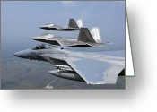Raptor Photography Greeting Cards - Three Fa-22 Raptors Fly In Formation Greeting Card by Stocktrek Images