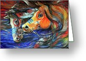 Feathers Greeting Cards - Three Feathers Indian War Ponies Greeting Card by Marcia Baldwin