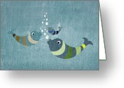 Animal Themes Digital Art Greeting Cards - Three Fish In Water Greeting Card by Jutta Kuss