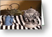 Dave Pastels Greeting Cards - Three For Tea Greeting Card by David Francis