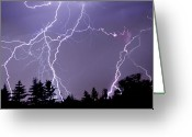 Utah Weather Greeting Cards - Three Frames Of Lightning Hitting Cedar Hills Area Greeting Card by Utah-based Photographer Ryan Houston