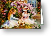 Puppies Greeting Cards - Three  Friends Greeting Card by Leonid Afremov