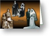 Terry Digital Art Greeting Cards - Three Generations Greeting Card by Terry Wallace
