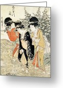 Woman In Pool Greeting Cards - Three girls paddling in a river Greeting Card by Kitagawa Utamaro