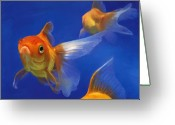 Orange Greeting Cards - Three Goldfish Greeting Card by Simon Sturge