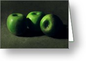Food Greeting Cards - Three Green Apples Greeting Card by Frank Wilson