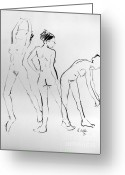 Life Drawing Drawings Drawings Greeting Cards - Three hail Marys Greeting Card by Joanne Claxton