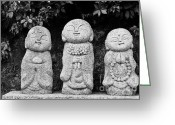 Japanese Greeting Cards - Three Happy Buddhas Greeting Card by Dean Harte