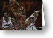 Basketball Greeting Cards - Three Headed Monster Greeting Card by Maria Arango