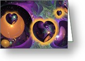 Philsh Greeting Cards - Three Hearts Greeting Card by Phil Sadler
