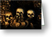Bone Pile Greeting Cards - Three Human Skulls Greeting Card by Milan Baloun