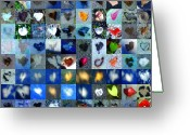 Grid Of Heart Photos Digital Art Greeting Cards - Three Hundred Series Greeting Card by Boy Sees Hearts