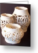 Hand Made Ceramics Greeting Cards - Three Interlaced Design Wheel Thrown Pots Greeting Card by Carolyn Coffey Wallace