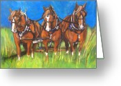 Carriage Team Greeting Cards - Three is Company Greeting Card by Debora Cardaci