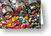 Jars Greeting Cards - Three jars of buttons dice and marbles Greeting Card by Garry Gay