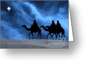 Star Of Bethlehem Greeting Cards - Three Kings Travel by the Star of Bethlehem - Midnight Greeting Card by Gary Avey