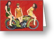 Swimsuits Greeting Cards - Three Kittens and Catnip Greeting Card by The Vintage Painter