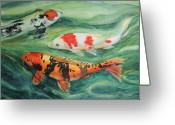 Fish Pond Painting Greeting Cards - Three Koi Greeting Card by Patricia Allingham Carlson
