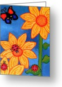 Esson Greeting Cards - Three Ladybugs and Butterfly Greeting Card by Genevieve Esson