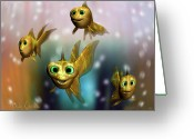 Whimsical Greeting Cards - Three Little Fishies And A Mama Fishie Too Greeting Card by Bob Orsillo
