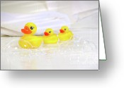 Toy Greeting Cards - Three little rubber ducks Greeting Card by Sandra Cunningham