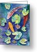 Hawaiian Pond Greeting Cards - Three Lucky Koi Greeting Card by Marionette Taboniar
