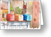 Los Angeles Painting Greeting Cards - Three-mail-boxes-in-Venice-California Greeting Card by Carlos G Groppa