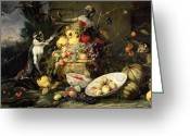 Fruit Basket Greeting Cards - Three Monkeys Stealing Fruit Greeting Card by Frans Snyders