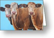 Charolais Greeting Cards - Three Moosketeers Greeting Card by Laura Carey