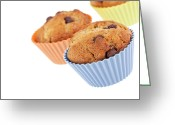 Copyspace Greeting Cards - Three muffins Greeting Card by Jane Rix