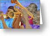 Player Mixed Media Greeting Cards - Three Musicians Greeting Card by Michael Lee