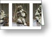 Polyptych Greeting Cards - Three Musicians Triptych  Greeting Card by Peter Piatt